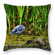 Headless Heron Throw Pillow