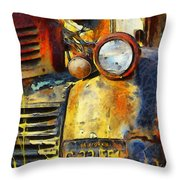 Headlight On A Retired Relic Abstract Throw Pillow