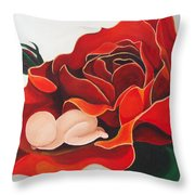 Healing Painting Baby Sleeping In A Rose Throw Pillow