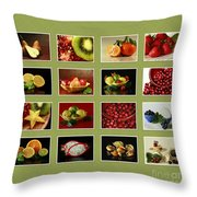 Healthy International Fruits Collection Throw Pillow