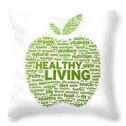 Healthy Living Apple Illustration Throw Pillow