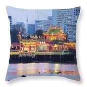 Hean Boo Thean Temple At Blue Hour Throw Pillow