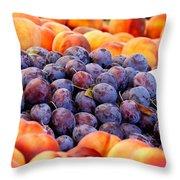 Heap Of Fresh Organic Peaches And Damson Plums  Throw Pillow