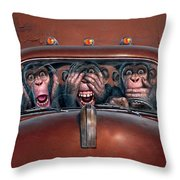 Hear No Evil See No Evil Speak No Evil Throw Pillow by Mark Fredrickson