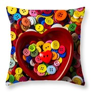 Heart Bowl With Buttons Throw Pillow by Garry Gay