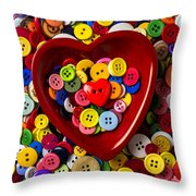 Heart Bowl With Buttons Throw Pillow