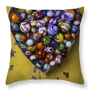 Heart Box Full Of Marbles Throw Pillow