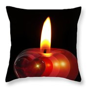 Heart Candle Throw Pillow