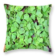 Heart Clovers Throw Pillow