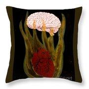 Heart Cooks Brain Throw Pillow