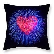 Heart Fireworks Face Throw Pillow