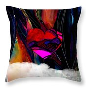 Heart Floating Above Clouds Throw Pillow