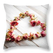 Heart From Dry Rose Buds Throw Pillow
