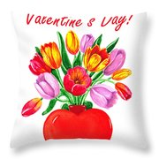 Heart Full Of Tulips Valentine Bouquet  Throw Pillow