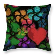 Heart In Flowers Throw Pillow