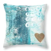 Heart In The Sand- Abstract Art Throw Pillow
