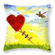Heart Kite Throw Pillow