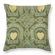 Heart Motif Ecclesiastical Wallpaper Throw Pillow