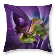 Heart Of A Purple Tulip Throw Pillow