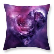 Heart Of A Rose - Burgundy Purple Throw Pillow