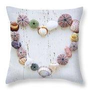 Heart Of Seashells And Rocks Throw Pillow by Elena Elisseeva