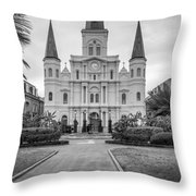 Heart Of The French Quarter Monochrome Throw Pillow