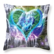Heart Of Waterfalls Throw Pillow