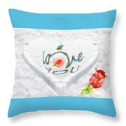Heart On Snow With Rose Throw Pillow
