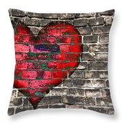 Heart On The Old Wall Throw Pillow