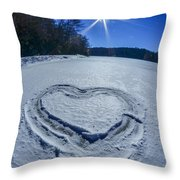 Heart Outlined On Snow On Topw Of Frozen Lake Throw Pillow