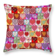 Heart Patches Throw Pillow