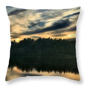 Heart Pond Sunset Throw Pillow