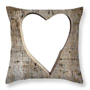 Heart Shape Carved Into A Plank Throw Pillow