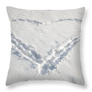 Heart Shape In Snow Throw Pillow