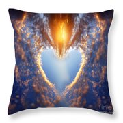 Heart Shape On Sunset Sky Throw Pillow