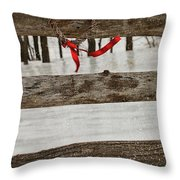 Heart-shape Wreath With Red Ribbon On Fence Throw Pillow