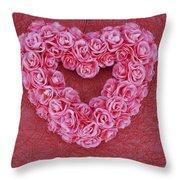 Heart-shaped Floral Arrangement Throw Pillow