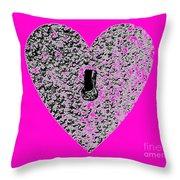 Heart Shaped Lock - Pink Throw Pillow