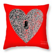 Heart Shaped Lock - Red Throw Pillow