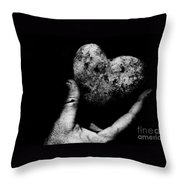 Heart Shaped Rock Throw Pillow