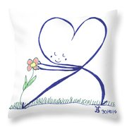 Heart Touches Flower Lovingly Throw Pillow