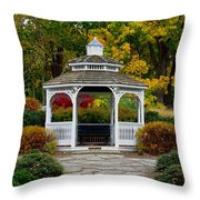 Hearthstone Castle Park Gazebo Throw Pillow by Stephen Melcher