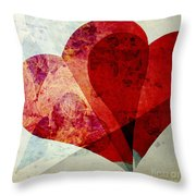 Hearts 5 Square Throw Pillow