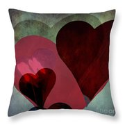 Hearts 9 Square Throw Pillow