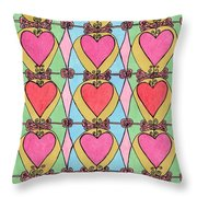Hearts A'la Stained Glass Throw Pillow