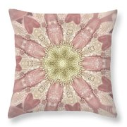 Hearts And Flowers Mandala Throw Pillow