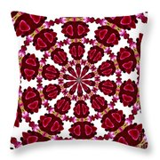 Hearts And Orchids Kaleidoscope Throw Pillow