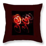 Hearts In Color Throw Pillow