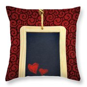 Hearts In Slate Throw Pillow