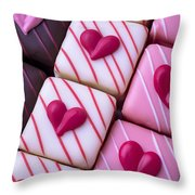 Hearts On Candy Throw Pillow